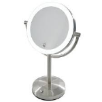 "Clearview 7.5"" LED Tabletop Illuminated Magnifying Mirror 5x Zoom Magnified Double Sided Mirror"